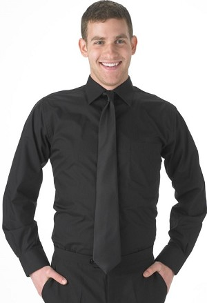 KYLE THOMAS BY SEGAL BLACK LONG SLEEVE DRESS SHIRT - MEN'S