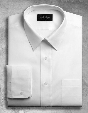 NEIL ALLYN WHITE LONG SLEEVE DRESS SHIRT - MENS & BOY'S