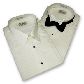 "IVORY WING 1/4"" PLEAT WING COLLAR TUXEDO SHIRT - MEN'S"