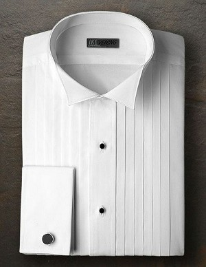 "IKE BEHAR WHITE COTTON 1/2"" PLEAT WING COLLAR TUXEDO SHIRT - MEN'S"