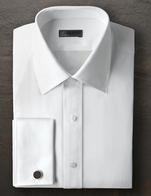 IKE BEHAR WHITE COTTON PLAIN FRONT LAY DOWN COLLAR FORMAL SHIRT - MEN'S
