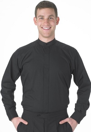 ROBERTO BLACK BAND COLLAR DRESS SHIRT