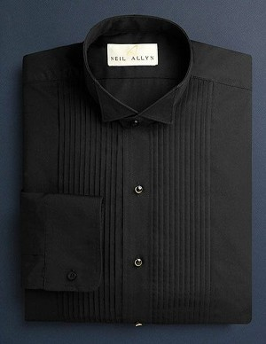 "NEIL ALLYN BLACK 1/4"" PLEAT WING COLLAR  TUXEDO SHIRT - MEN'S"