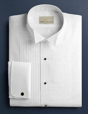 "NEIL ALLYN WHITE COTTON 1/4"" PLEAT ""FITTED"" WING COLLAR TUXEDO SHIRT - MEN'S"