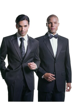 FELLINI UOMO BLACK 2 BUTTON NOTCH LAPEL TUXEDO PACKAGE