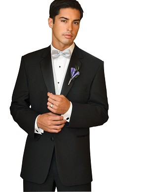 NEIL ALLYN BLACK WOOL 2 BUTTON NOTCH TUXEDO PACKAGE w/ LUXURY SATIN VEST