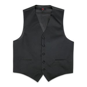 """Q Satins"" Men's Black Vest #VT10B-01"