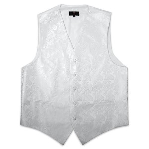 Men's White Perfect Paisley Vest #VT20A-70