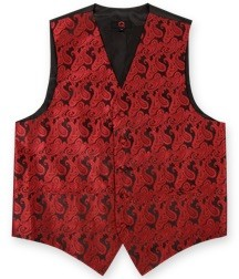 BRAND Q PAISLEY VEST SET (VEST, LONG TIE, HANKIE) - RED ON BLACK