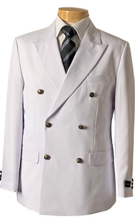 VSA WHITE DOUBLE BREASTED BLAZER JACKET - MEN'S CLOSEOUT